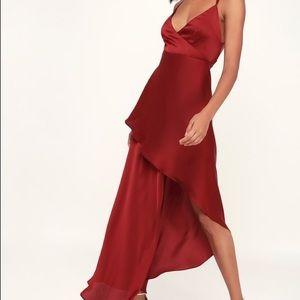 NWT Lulu's Wine Red Satin High-low Maxi Dress